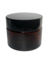 Amber Glass Jar 50ml with Black Lid and Inner Seal